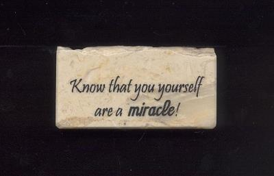 ''Know That You Yourself Are A Miracle'' Jerusalem Stone Wall Plaque