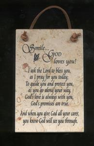Smile - God Loves You Jerusalem Stone Wall Plaque