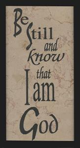 Be Still and Know That I Am God - Jerusalem Stone Wall Plaque