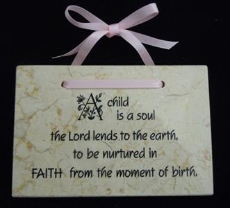''A Child Is A Soul the Lord Lends to the Earth''  Jerusalem Stone Wall Plaque - Pink