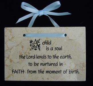 'A Child Is A Soul the Lord Lends to the Earth''  Jerusalem Stone Wall Plaque - Blue