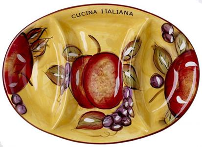 Cucina Italiana Ceramic 3 Section Appetizer Oval Serving Dish