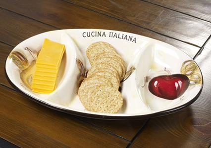 Cucina Italiana Ceramic 3 Section Appetizer Oval Serving Tray