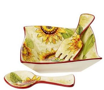 Cucina Italiana Ceramic Deep Salad Bowl Set - Sunflower Pattern