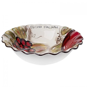 Cucina Italiana Ceramic Deep Dish Pasta Bowl  - White