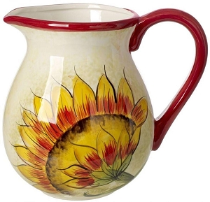 Cucina Italiana Ceramic Sunflower Design 2 Liter Wine/Water Jug