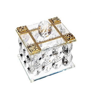 Italian 24% Crystal & Gold Plated Jewelry Box