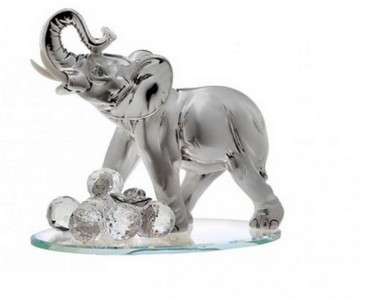 Italian Argento Sterling Silver Argento Elephant Figurine with Swarovski Crystal Clusters