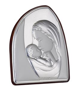 Mother & Child 925 Silver Argento Icon Plaque