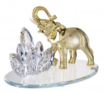 Gold Plated Italian Argento Sterling Silver Elephant Figurine with Swarovski Crystal