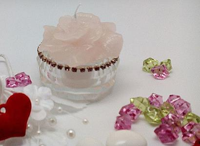 Italian Crystal Tealight Candle Holder With Pink Swarovski Crystals