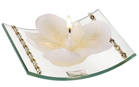 Curved Glass Candle Holder with Gold Bands and Crystals