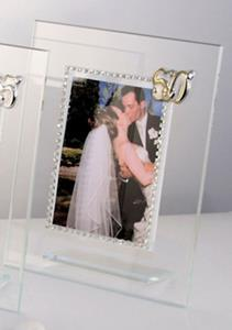 Italian 50th Anniversary Picture Frame With Swarovski Crystals