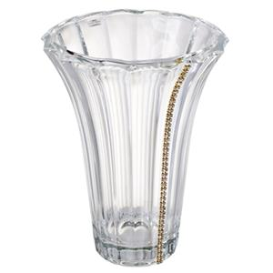 Italian 24% Crystal Vase With Strand Of Swarovski Crystal