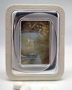 Italian 925 Silver Argento White Leather Picture Frame