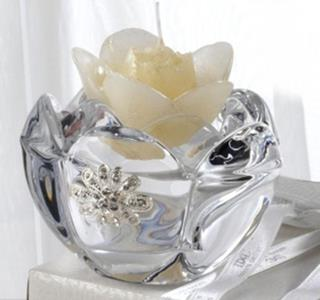 Italian 24% Crystal Tealight Holder With Swarovski Brooch And Scented Candle