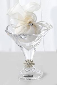 Italian Crystal Footed Martini Glass Candy Dish with Swarovski Brooch