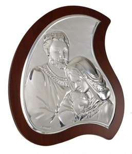 Holy Family Argento Italian 925 Sterling Silver Holy Family Plaque