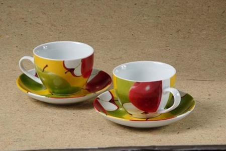 Porcelain Colorful Cups and Saucers Set Apple Design