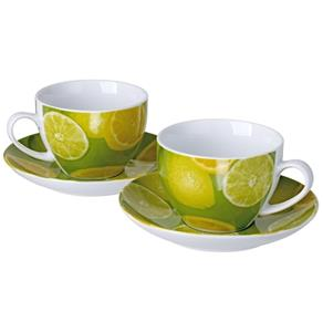 Porcelain Coffee Mug and Saucer - Set of 2 - Lemon Design
