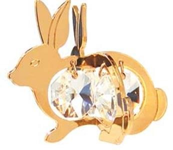 Bunny Twins 24k Gold Plated Ornament or Suncatcher Made With Swarovski Crystals