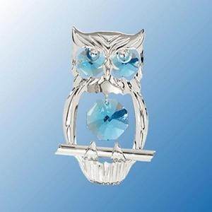 Hooty the Blue-Eyed Owl Suncatcher - Swarovski Crystals