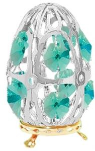 Chrome-Plated Tabletop Egg With Swarovski Crystals ( 5 color choices)