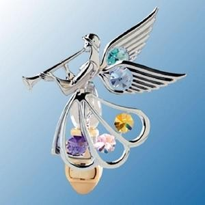 Trumpeting Angel Nightlight - Swarovski Crystal Elements - 2 color choices
