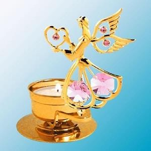 Angel Holds A Heart - Tealight Candle Holder - Swarovski Elements - 6 Color Choices