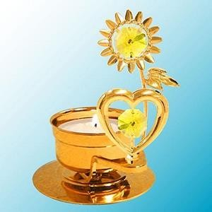 Sunflower Heart Tealight Candle Holder - Swarovski Crystal Elements - 6 Color Choices