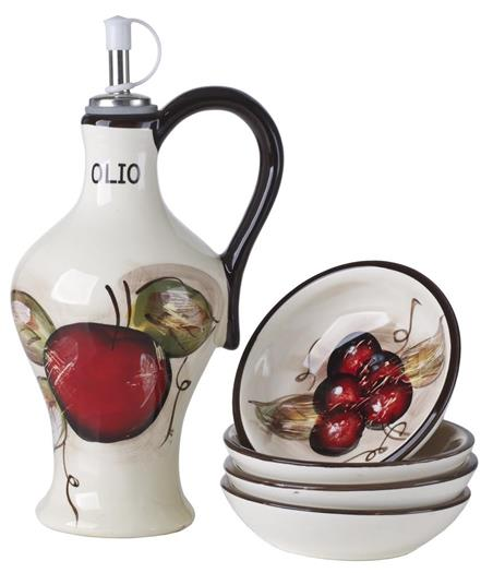 Cucina Italiana Ceramic Olive Oil Dispenser Cruet with 4 Dipping Plates