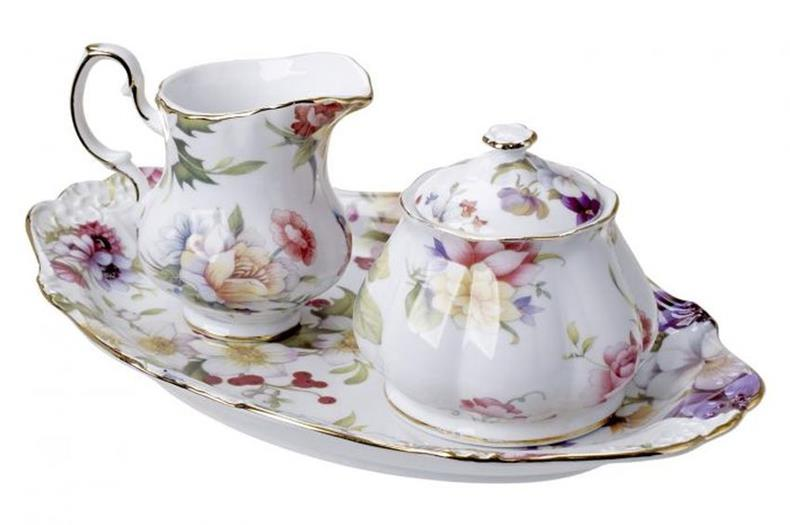 Fine Porcelain Multi Flowered Sugar and Creamer and Tray
