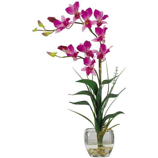 Purple Dendrobium w/Glass Vase Silk Flower Arrangement