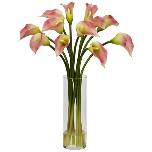 Pink Mini Calla Lily Silk Flower Arrangement