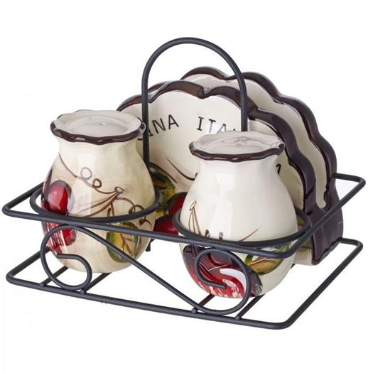 Cucina Italiana Ceramic 3 Piece Kitchen Condiment set With Caddy