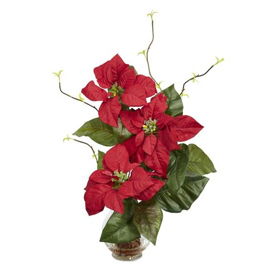 Poinsettia with Fluted Vase Silk Flower Arrangement