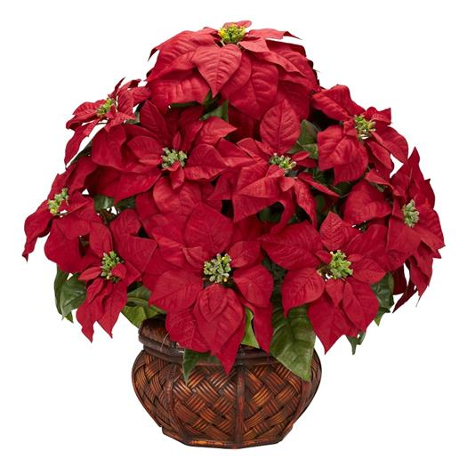 Poinsettia with Decorative Planter Silk Flower Arrangement
