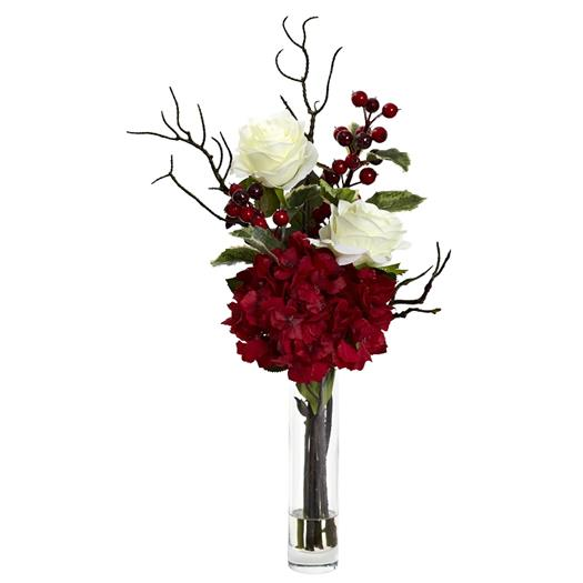 Merry Christmas Rose Hydrangea Silk Flower Arrangement