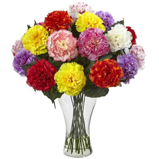 Assorted Blooming Carnation Arrangement w/Vase