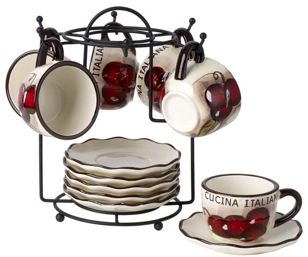 Cucina Italiana Ceramic Espresso Set With Stand - Service for 6