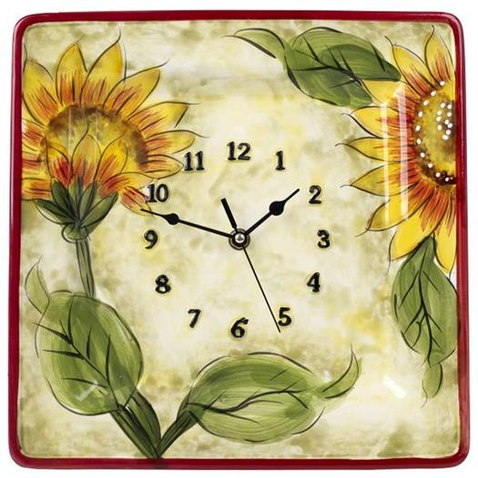 Cucina Italiana Ceramic Sunflower Design Wall Clock Plate