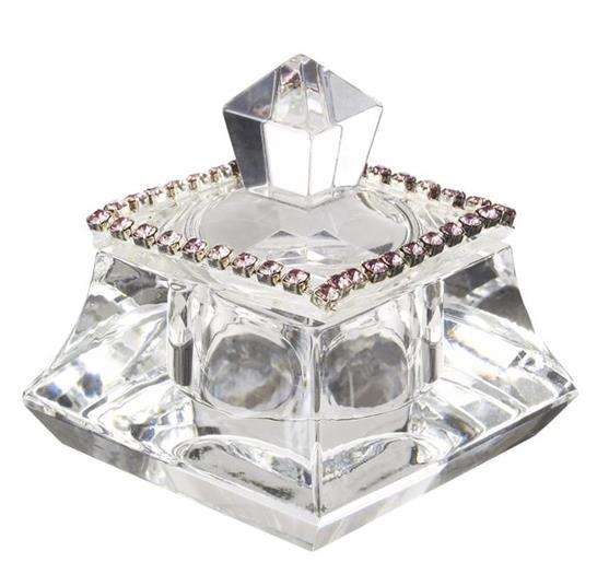 Italian Crystal Trinket Box With Pink Swarovski Crystals