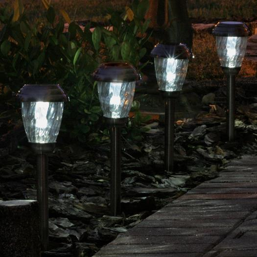 Charleston Solar Pathway Lights - Pewter 6-pack