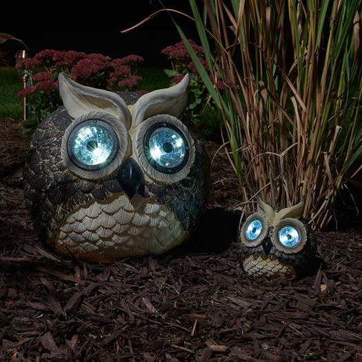 mother and baby solor garden owls set