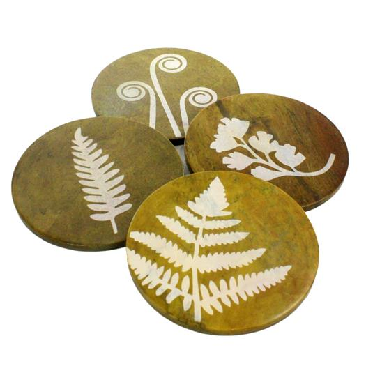 Soapstone Coasters - Green Ferns