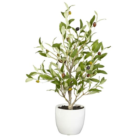 18 inch Olive Silk Tree w/Vase (Set of 2)