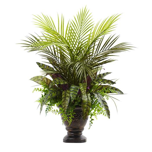 27 inch Mixed Areca Palm, Fern & Peacock w/Planter
