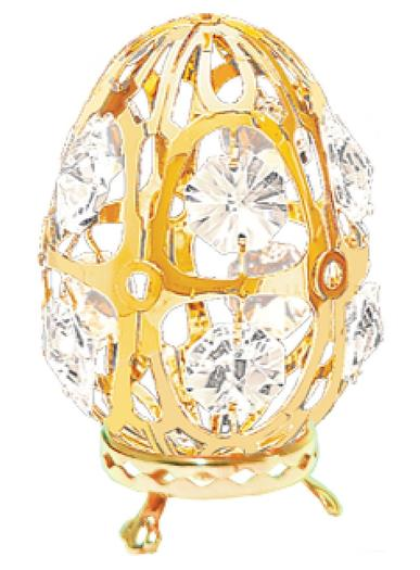 Gold Plated Tabletop Egg With Swarovski Crystals