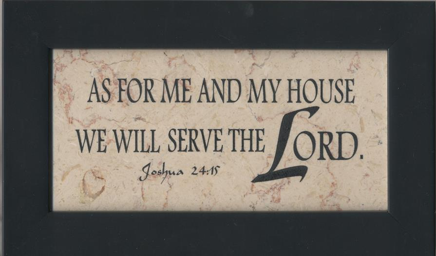 Joshua 24:15 As For Me and My House - Jerusalem Stone Wall Plaque