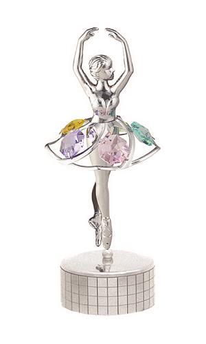 Ballerina Mirrored Music Box with Chrystals